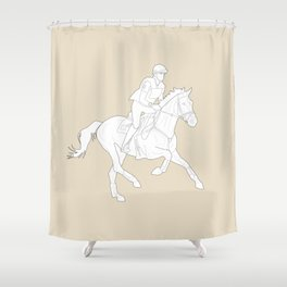 Eventing in Tan Shower Curtain