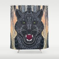 panther Shower Curtains featuring Panther by ArtLovePassion