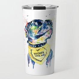 Pitbull, Pit Bull Watercolor Pet Portrait Pinting - Diesel Travel Mug