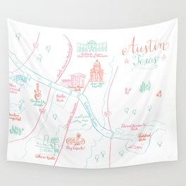 Austin, Texas Illustrated Calligraphy Map Wall Tapestry