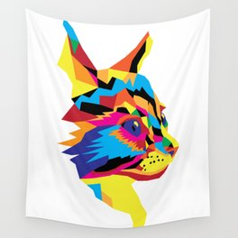 Geomtric Colourful Kitten Digitally Created Wall Tapestry
