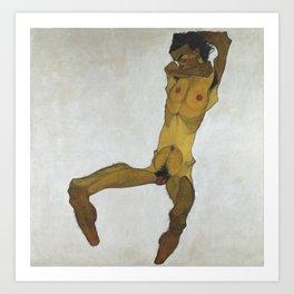 Seated Male Nude by Egon Schiele Art Print