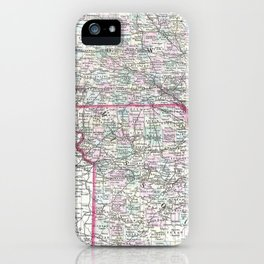 Vintage Iowa and Missouri Map (1874) iPhone Case