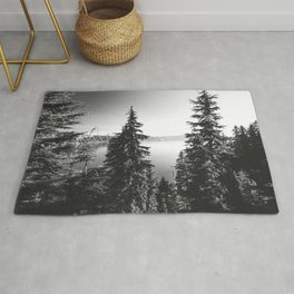 Mountain Lake Forest Black and White Nature Photography Rug