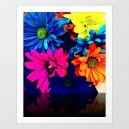 Neon Daisies Art Print