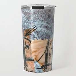 Two braided horses, side view portrait, winter background Travel Mug