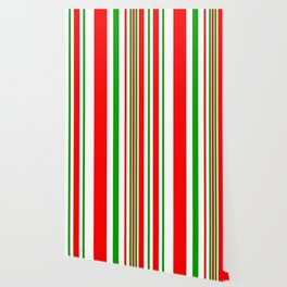 Christmas Stripes of Green Red and White- candy cane colors Wallpaper