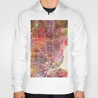 detroit Hoodies featuring Detroit by MapMapMaps.Watercolors