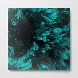 Trippy Cyan Abstract Liquid Pattern Metal Print