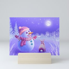 Winter Night Moon Watching Mini Art Print