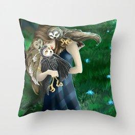 Owls at Midnight Throw Pillow