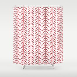 White and red boho pattern Shower Curtain