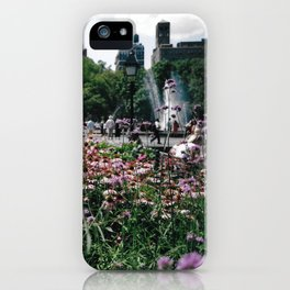 Flowers and Fountain iPhone Case