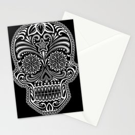 Intricate White and Black Day of the Dead Sugar Skull Stationery Cards
