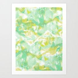 Marble Mist Green Lime Art Print