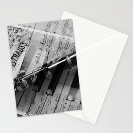 clarinet and piano - black and white Stationery Cards