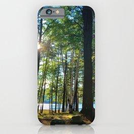 Lake Sunrise Through Trees iPhone Case