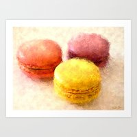 macarons Art Prints featuring MACARONS!!! by Elizabeth Cakovan