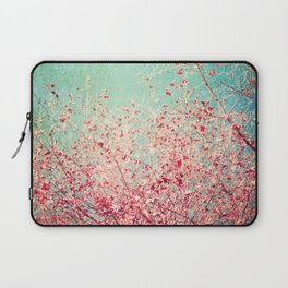 Blue Autumn, Pink leafs on blue, turquoise, green, aqua sky Laptop Sleeve