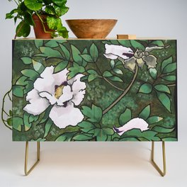 White on Green Credenza