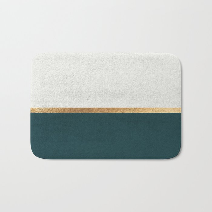 Deep Green, Gold and White Color Block Badematte