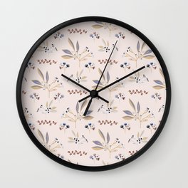 Pink Natural Leaf Berry Branch Vector Pattern, Wall Clock