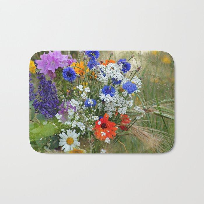 Wildflowers in a summer meadow Bath Mat