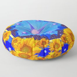 Blue Morning Glory Yellow Sunflowers Floral Pattern Floor Pillow