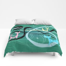 Atomic Rocket Cats In Space Comforters
