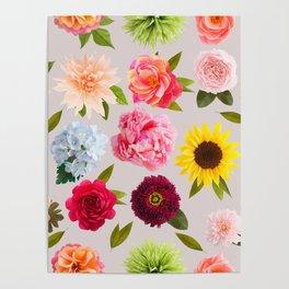 Paper flower pattern Poster