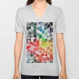 Retro pattern of triangles geometric shapes Unisex V-Neck
