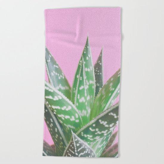 Pink Aloe Tiki Beach Towel