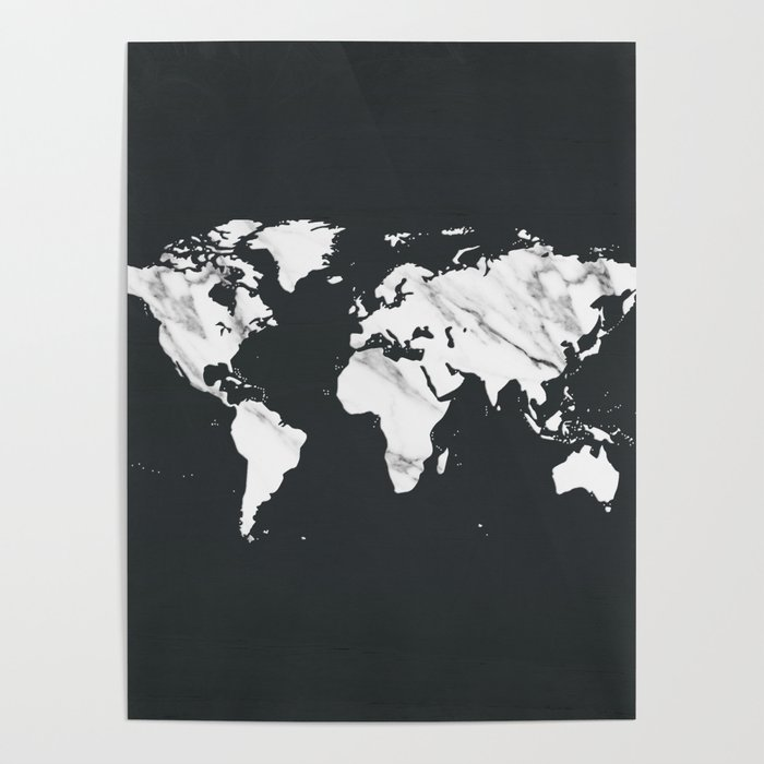 Marble world map in black and white poster by naturemagick society6 marble world map in black and white poster gumiabroncs Gallery
