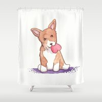 corgi Shower Curtains featuring Corgi Love by Jackie Sullivan