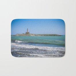 Lighthouse on the sea at Vieste, Puglia, Italy Bath Mat