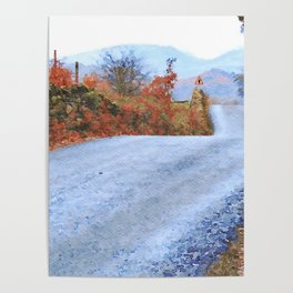 Autumn Road to Coniston, Lake District UK Watercolour Painting Poster