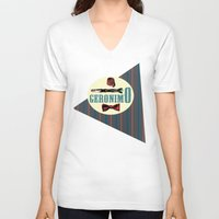 """fez V-neck T-shirts featuring Doctor Who: 11th Doctor - """"Geronimo"""" by Neobie Gonzalez"""