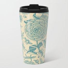 Garden Bliss - in teal & cream Metal Travel Mug