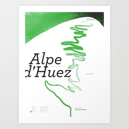 Famous Climbs: Alpe d'Huez 1, Modern Spring Art Print