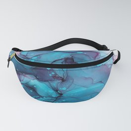 Blue Alcohol Ink Watercolour Painting Fanny Pack