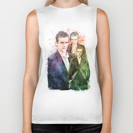 12th Doctor/Doctor Who/Peter Capaldi inspired Mixed Media Watercolor Portrait Biker Tank