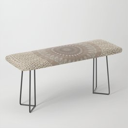 Unique Texture Taupe Burlap Mandala Design Bench