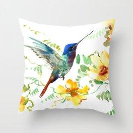 Hummingbird and Flowers, floral design Hawaiian tropical Throw Pillow