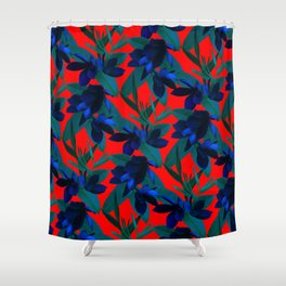 Mixed Paradise Tropicals in Indigo/Red Shower Curtain