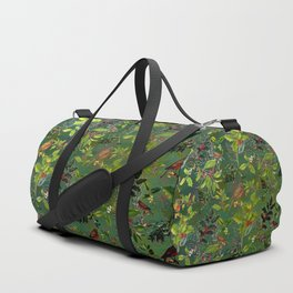 Christmas Pattern with Green Background Duffle Bag