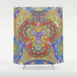 Heartwarming Boho Groovy Floral Mandala Print Shower Curtain
