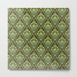 Golden Paisley Damask Metal Print