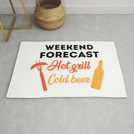 Weekend Forecast Hot Grill Cold Beer Funny Quote Rug