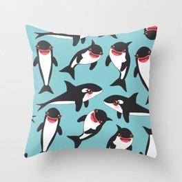 Cartoon grampus orca, Kawaii whale, sea wolf Throw Pillow