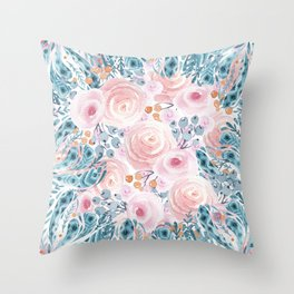 Blush pink blue coral watercolor hand painted floral Throw Pillow